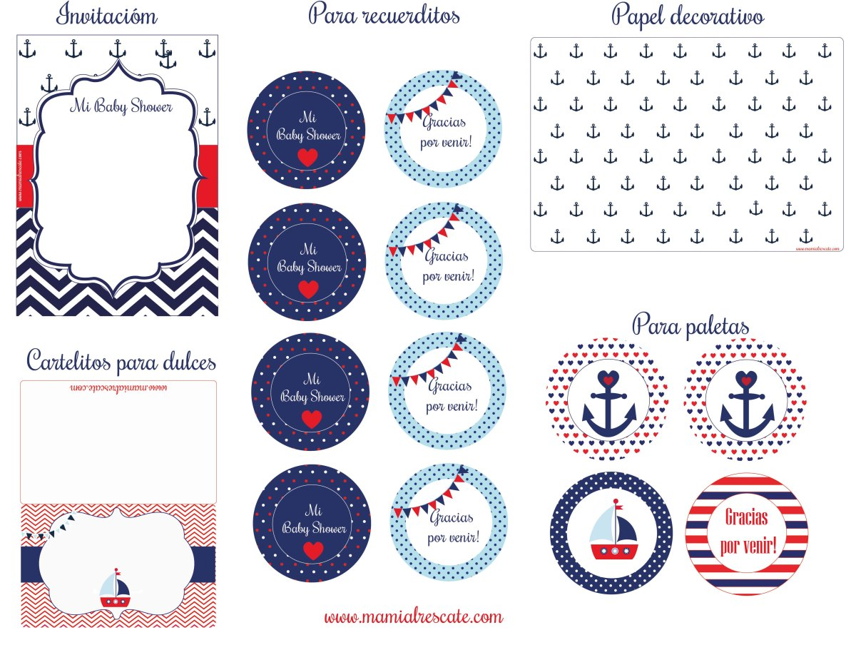 kit descargable nautical baby shower mami al rescate. Black Bedroom Furniture Sets. Home Design Ideas